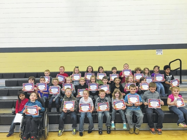 "The following students received recognition for being ""Students of the Month"" for January at Miami Trace Elementary School. These students were chosen for showing that they are trustworthy at school each and every day and were treated to Donato's Pizza with the Principal. Front row: Allisson Juarez, James Bethel, Michael Haughey, Karley Baker, Jeremiah Green, Annabel Teter, Harley Howe, Matthew Barnard and Carolina Ashmore. Middle row: Nathan Ralph, Logan Moralaja, Ashlyn Davis, Natalie Pitstick, Kenton Berry, Brenna Sword, Brody McBee, Arianna Williams, Janelle Capehart and Ameerah McConahay. Back row: William Umstead, Logan Woods, Grace Green, Casi Parrish, Anslee Combs, Justin Etzler, Nic Lindsey, Luke Armstrong, Kyndall Morris, Virginia Langley and Trevor Clark. Not Pictured: Yaretzi Utrera Canseco, Gage Funk and Adailya Ridings."