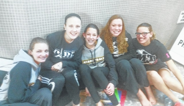 The above student-athletes qualified to the recent District swim meet at The Ohio State University. (l-r); Katelyn Taylor, Lauren Truex, Addie Braden, Clare Sollars and Destiny Schook. Both 200 freestyle relay and 400 freestyle relays qualified to the District. The girls were 29th in the 200 freestyle relay and finished 21st in the 400 freestyle relay at the District meet held Feb. 19, 2016.