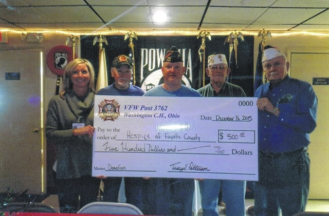 The VFW Post 3762 recently donated $500 to The Hospice of Fayette County. Pictured (L to R): Holly Litteral, Tom Smith, Tracy Patterson, Sheldon Litton and Bob Malone.