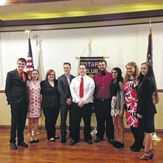 """The Washington Court House Rotary Club held its annual """"4-Way Test"""" speech contest on Feb. 23. The students who participated were (L-R): Riley Evans, Elizabeth Krafzer, Amber Haynes, Mitchell Creamer, Austin Russell, Gavin Mallow, Roma Patel, Michaela Liff, Rebekah Lucas"""