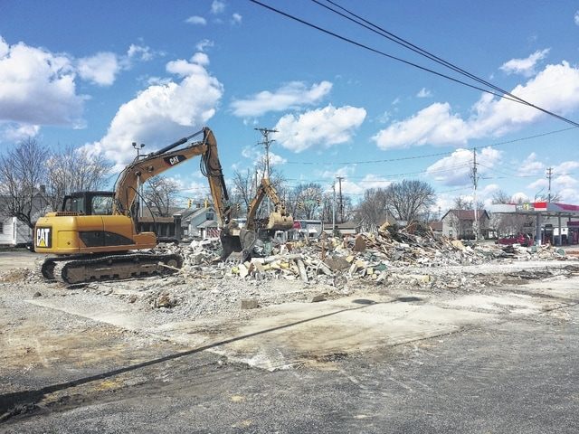 The building which housed a Pettit's Drive-Thru, Fox Jewelers and Standardbred Computers was torn down recently to make way for the new First State Bank (FSB) building, which will be moving to that location across from Kroger. The building, which has stood at the location for many years, was rubble on Thursday afternoon.