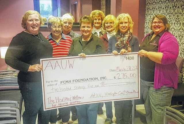 The FCMH Foundation recently received a donation from the American Association of University Women Washington C.H. branch. Pictured are Rose Merkowitz, Marilee Peterson, Carolyn DeWeese, Dr. Norma Kirby, FCMH Foundation secretary, Frances Junk, Jean Ann Davis, Dr. Pamela Anderson and Dr. Cynthia Morris, gynecologist and Women Wellness Center Medical Director.