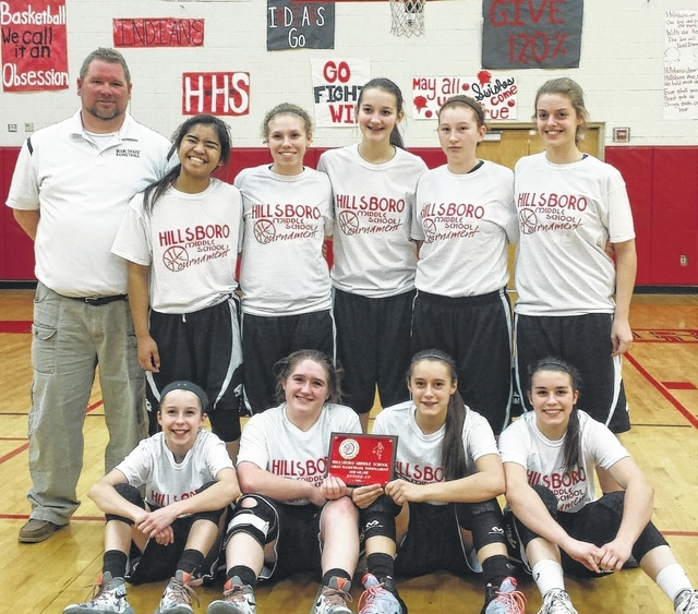 The Miami Trace 8th grade girls basketball team went 2-1 in the postseason tournament featuring SCOL teams, placing second. The team finished the 2015-16 season with a record of 11-6. (front, l-r); Aubrey McCoy, Aubrey Schwartz, Shaylee McDonald, Morgan Eggleton; (back, l-r); coach Bret Schwartz, Shania Villaruel, Gracie Bapst, Kate Leach, Linzy Turley and Adelyn Hoppes.