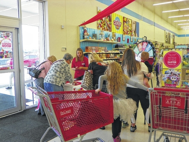 The store was offering customers the chance to win a few dollars to spend at the store as part of a prize wheel, as well as holding a raffle for a $150 gift certificate. Many customers visited the store Friday to see what they had to offer.