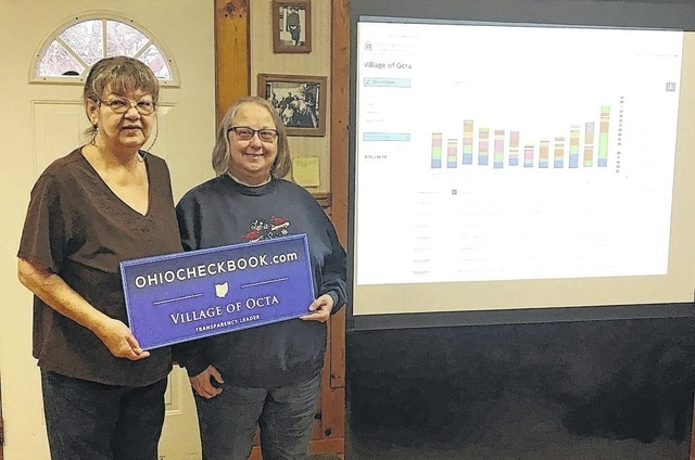 The Village of Octa recently joined OhioCheckBook.com to allow residents to see what their tax dollars are being spent on. Village of Octa Mayor Sherry Newton and Village of Octa Fiscal Officer Penny Johnson are pictured at the Octa town hall after a demonstration by Ohio State Treasurer's Office employees on Tuesday.