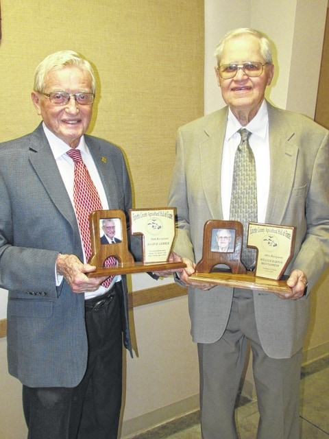 The newest Ag Hall of Fame recipients David B. Gerber and William Barton Montgomery after the induction ceremony Tuesday night.