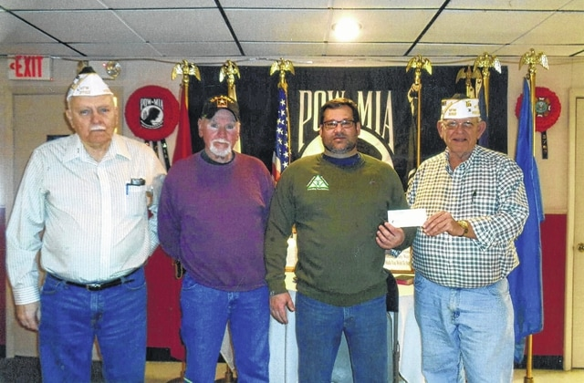The VFW Post 3762 donated to the fifth-annual Cerebral Palsy 5K Run/Walk/Roll. Pictured (L to R): Bob Malone, Tom Smith, John Buyer and Sheldon Litton.