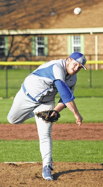Aaron Greer delivers a pitch for the Blue Lions in an 11-5 win over Chillicothe Friday in an SCOL game played at Washington High School. Greer pitched 5.1 innings to record the victory on the mound.