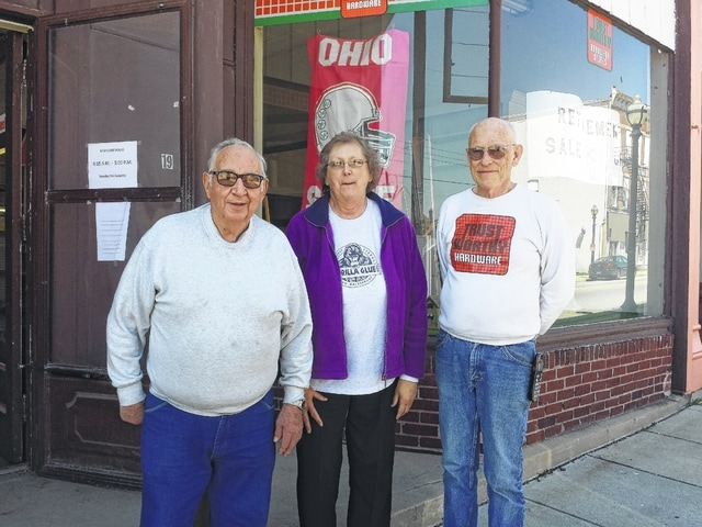 Cline Hardware, in Jeffersonville, will be closing down in the next few weeks as the couple who has owned the store for nearly 40 years have decided to sell and retire. Pictured (L to R): Dick Gordon, Kay Cline and Dick Cline.