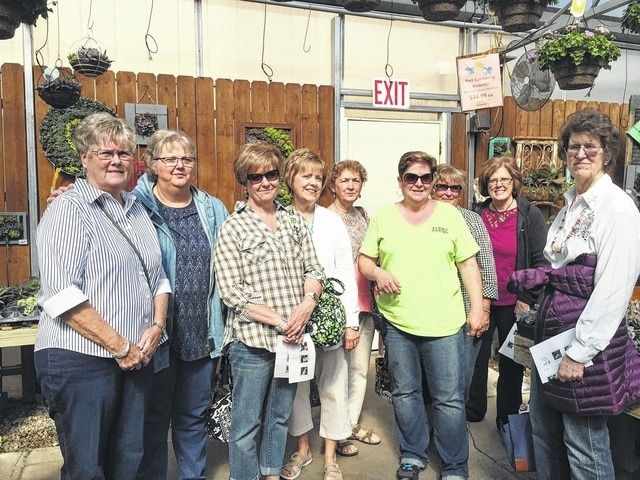The Deer Creek Daisies held their April meeting at the Meadow View Growers Garden Center in New Carlisle. Left to right Judy Gentry, Joyce Schlichter, Billie Lanman, Rita Lanman, Marty Cook, Cheryl Ingram (Meadow View) Kendra Knecht, Jeanne Miller and Barb Vance. Shirley Pettit took the picture.