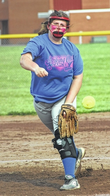 Kate Jude delivers a pitch for the Lady Lions during their game at Miami Trace Friday, April 29, 2016.