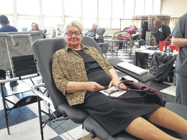 Rose Everhart has been donating blood regularly for years and received a pin indicating she has given 36 gallons of blood through her donations, and still keeps donating more. She is pictured at Grace United Methodist Church on East Market Street in Washington C.H. on Tuesday for one of several American Red Cross Blood Drives held there this year.