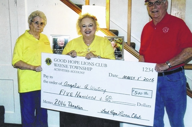 The Good Hope Lions Club recently donated $500 to Angels Awaiting as a way of continuing to give back to the community. Pictured (L to R): Sandy McKinney, Joann Leach and Lion Ron Clay.