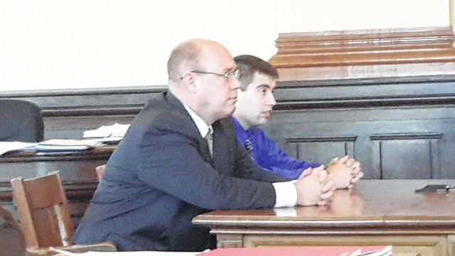 Attorney Brad Koffel and defendant Justin C. Hobbs. Hobbs was arraigned Monday in the Fayette County Court of Common Pleas.