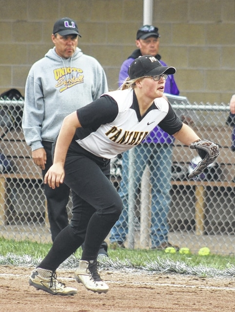 Miami Trace's Alexis Schwartz charges toward the plate from her first base position to cover a possible bunt during a non-league game against Unioto Tuesday, May 3, 2016.