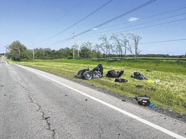 A Preble County couple riding this motorcycle was killed in a two-vehicle accident on U.S. Route 22 east on Monday. The crash is still under investigation.