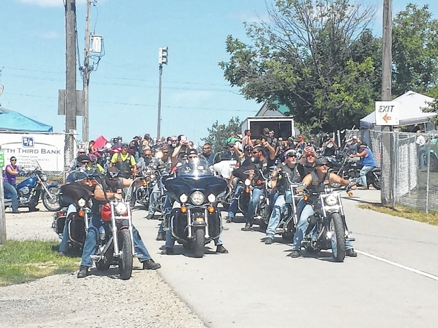 Eddie's Run, a day-long event to benefit Fayette Progressive Industries, will be held on Aug. 20 from 11 a.m. until around 6 p.m. at the Fayette County Fairgrounds. A bike ride was held during the 2015 event, and several of the participants are pictured here being led by the VFW Riders.