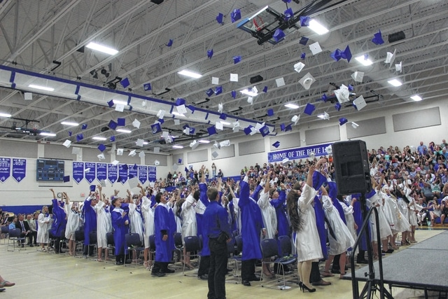The seniors came together for their final act as a graduating class, the throwing of the hats. Brooklyn Wilson, 2016 class president, led her class on both this and the switching of the tassel.