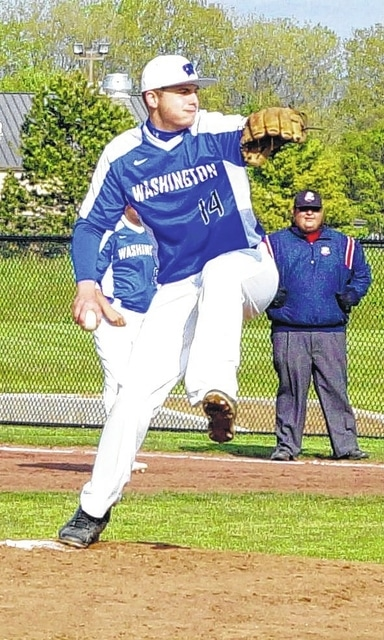 Washington senior Jordan Flowers delivers a pitch during a non-league game against Madison Plains Thursday, May 5, 2016 at Washington High School. Flowers pitched a complete game, shut-out, allowing the Eagles just four hits in a 4-0 Blue Lion victory.