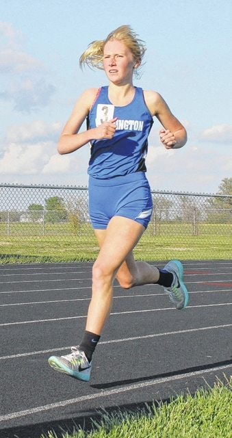 Washington's Maddy Garrison competes in the 1600-meter run at the Miami Trace Invitational Thursday, May 5, 2016.