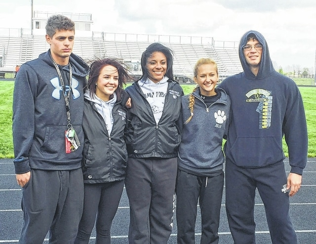 Senior members of the Miami Trace track team were recognized prior to the MT Invitational on May 5, 2016. (l-r); Jonah Meehan, Anna Pfeifer, Alexis Smith, Julia Barrett and Devin Bainter.