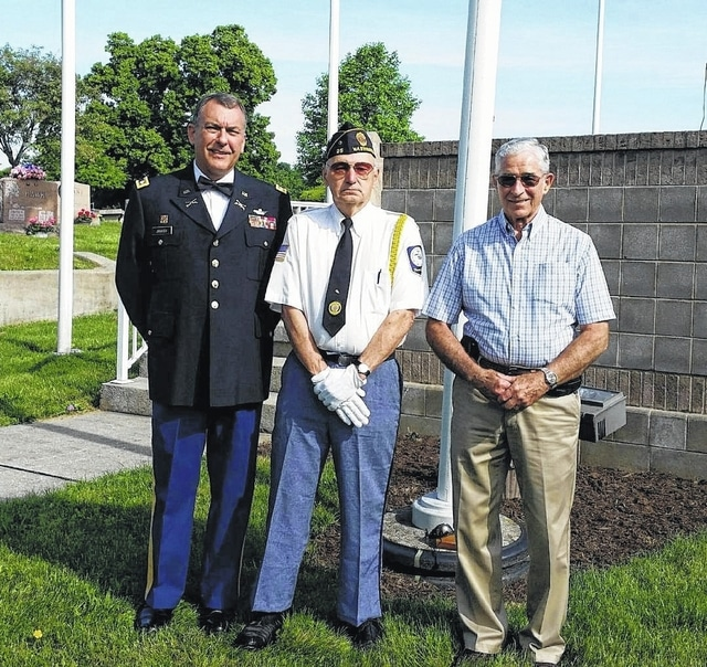 A Memorial Day service was held Monday at Washington Ceremony. From left to right are: speaker, Steve Janasov, (Retired) Colonel U.S. Army; David Frederick, Commander American Legion Post 25, and, Pastor Ed Gault, First Baptist Church.