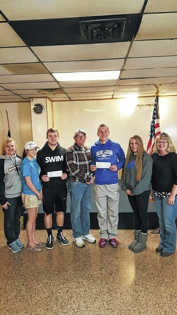 Fraternal Order of Eagles recently donated $500 to the Washington High School and Miami Trace After Proms. Pictured left to right: Sarah Haldeman, Rebekah Lucas, Jacob Haldeman from Miami Trace, past Worthy President Danny Coe, Hunter Sever, Savanah Coe and Kim Sever from Washington High School.