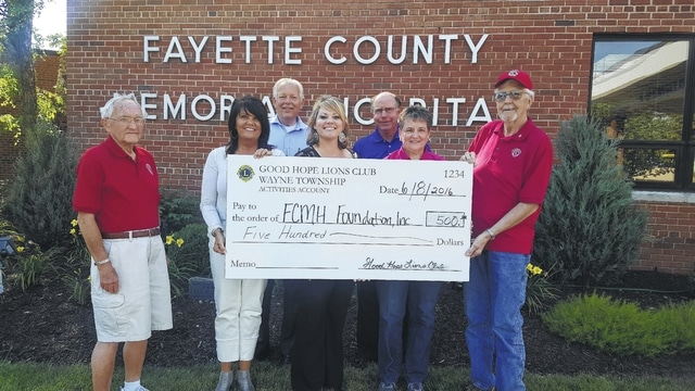 The FCMH Foundation recently received a donation from the Good Hope Lions Club.