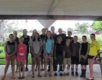 The Lucky Leaf Livestock 4-H Club held their last meeting on June 12. Pictured front row (L to R): Natalie Lindsey, Caitlin Cottrill, Lilly Litteral, Hazen Jacobs, Corbin Melvin, Mythias Stuckey, Thad Stuckey, Aaron Little and Abbey Little. Back row (L to R): Emily Daniels, Hillary Jacobs, Charlotte Jacobs, Morgan Miller, Ryan Little, Andrew Guthrie and Weston Melvin. Not pictured: Devan Thomas, Delaney Thomas, Eli Miller, Gage Merritt, Kailie Merritt and Brady Wallace.