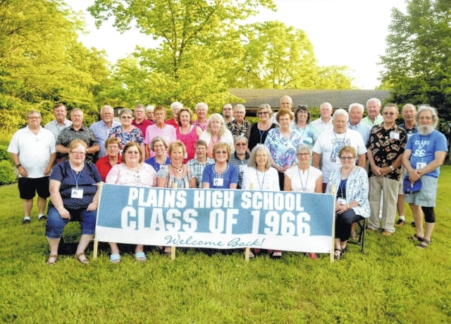 "The 1966 class held its 50th class reunion of the Plains High School, in Mt. Sterling, at the Deer Creek State Park Lodge. Seated row one (L to R): Linda Day, Susan (Fryer) Blue, Connie (Porter) Lindsey, Diana (Carsey) Elam, Bonnie (Jones) Davis, Bobbie (Wallace) Hanscel and Karen (Babb) Hughes. Seated row two (L to R): Trudy (Sands) Cantrell, Jane (Stoer) Endres, Fred Trimble, and Mike Howland. Standing row one (L to R): Mick Phillips, Larry Griffith, Debbie (Alkire) Weller, Betty Dennison, Linda (Dailey) Miedel, Patty (Gatton) Speakman, Joy (Merritt) Clarity, Bob Teeters, John Chamberlain, and Jeff Wallace. Standing row two (L to R): Alex Brown, Dick Green, Jim Trimble, Bill Dillon, Gerald Cox, David Jones, Lowell Elam, Mike Riley, Mary ""Kathie"" Troxel, Jake Jacobs, Peggy Garrison, Jerry Kitchen, Ed Mason, Mike Endres, and Ron Bauman."