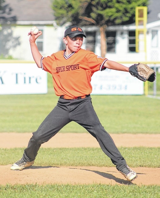 Super Sport's Braden Osborne delivers a pitch in the first inning of a game against Mopars Wednesday, June 8, 2016 in Washington C.H. Little League Major Division play.