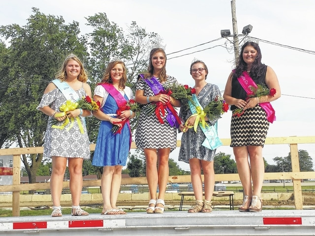 The 2016 Fayette County Fair Queen was crowned during the Opening Ceremony at the McDonald's Grandstand on Sunday evening. Pictured (L to R): Alexis Schwartz, attendant, Virginia Schappacher, first attendant, Bethany Reiterman, 2016 Fair Queen, Ginna Climer, attendant and Abbie Noble, 2015 Fair Queen.