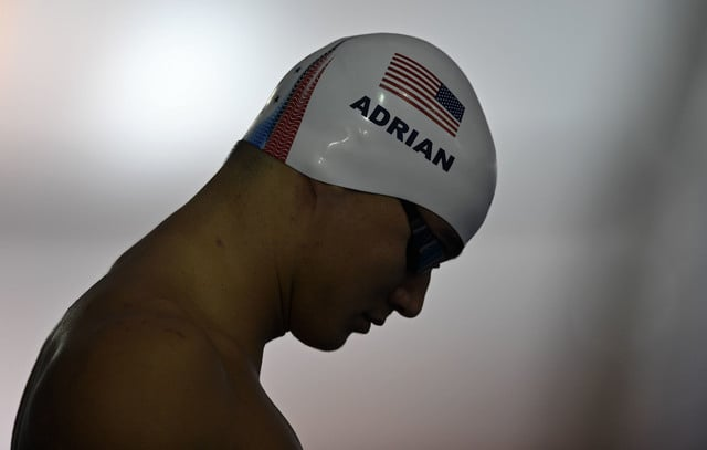 United States' swimmer Nathan Adrian concentrates during a training session at the 2016 Summer Olympics in Rio de Janeiro, Brazil, Friday, Aug. 5, 2016. (AP Photo/Martin Meissner)