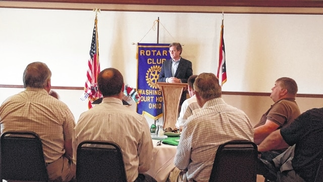 Congressman Turner talks with Fayette County leaders at a Rotary Club meeting Tuesday.