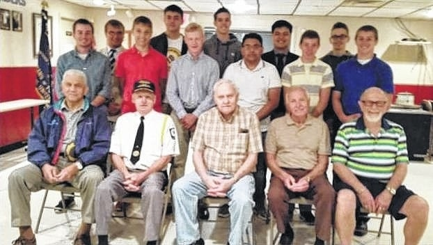 "Pictured left to right, starting with the Buckeye Boys' State attendees: Kyler Mount, Jared Murphy, Blake Pittser, Seth Leach, Todd Peterson, Griffin Shaw, Alex Patel, Chance Oyer, Nick Elrick, Levi Davis and Liam Downing. Not pictured is Colton Karnes. In the front row are Charles ""Buck"" Harris (American Legion Post #653), Dave Frederick (Commander, American Legion Post #25), Robert Malone (Veterans of Foreign Wars Post #3762), Edward Fisher (Selection Committee member), and Paul Sands (Fayette Masonic Lodge #107)."