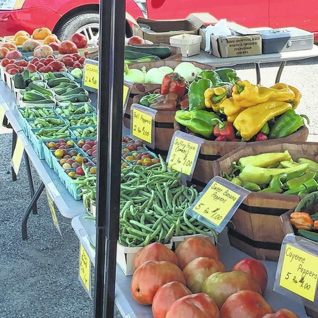 Edwin Stauffer's produce line, which is new to the Fayette County Farmers Market.