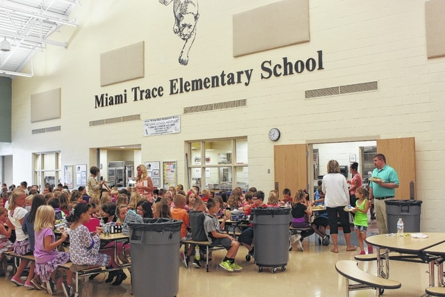 Miami Trace Local Schools started the 2016-17 school year Monday. These elementary students enjoyed lunch during the afternoon.