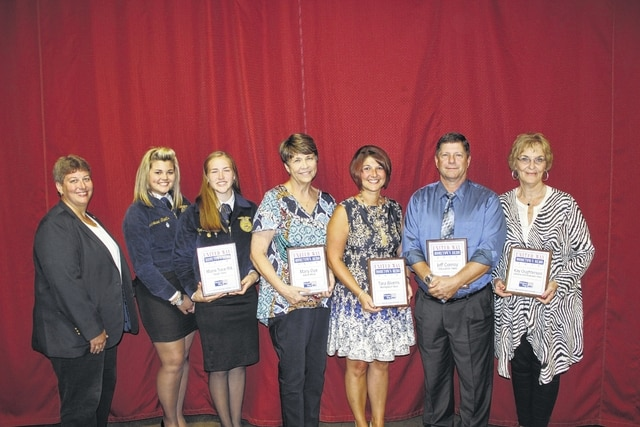Fayette County's Hometown Heroes were recognized Tuesday morning at the United Way Hometown Hero Celebration Breakfast. Those honored were: Wendi Mizer-Stachler, Marissa Sheets and Meri Grace Carson with the Miami Trace FFA (McDonald's Youth Hero); Mary Dye (Merchants National Bank Adult Hero); Tara Bivens (Fayette County Memorial Hospital Workplace Hero); Jeff Conroy (Fayette County Travel and Tourism Education Hero); and Kay Oughterson (Parrett Insurance Lifetime Achievement Hero).