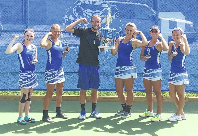 Three Washington Lady Blue Lion doubles teams took part in the first-ever Washington doubles tournament Saturday, Sept. 3, 2016 at Gardner Park. The Lady Lions won the overall tournament. (Pictured, l-r); Gretchen Milstead, Jen Richards, Coach Mitch Augenstein, Sierra Dawson, Megan Downing, and Anna Nestor. Not pictured: Maria Pickerill.