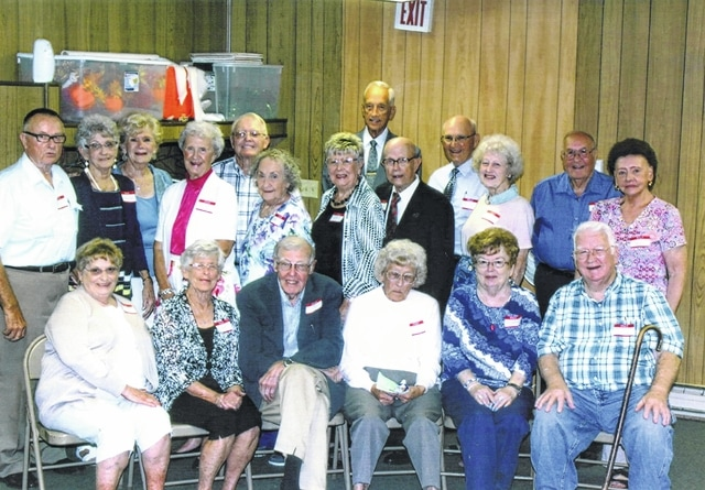 The Washington High School Class of 1951 celebrated its 65th reunion recently. First row (L to R): Eleanor McFadden Howard, Esther Dean Johnson, Dr. David Sheidler, Mary Bryan Holley, Rozella Dowden McArther, and Harold Roberts. Second row (L to R): Dick Hughes, Barbara Thomas Smithson, Barbara Edwards White, Shirley Pyle Stackhouse, Ann James Blake, Isaac Bennett, Louise Sperry Van Meter and Evelyn Smith. Last row (L to R): Jodi Cockerill Kirk, Norman Merritt, Bill Holley, Clinton Gilmore and Harold Thompson.