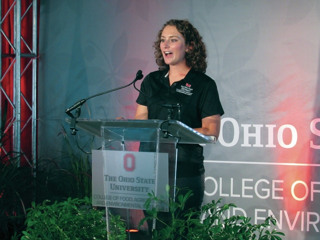 Ohio State agriculture student sophomore Natalie Miller, a 2015 Miami Trace graduate, was the master of ceremonies Tuesday at the annual Celebration of Ohio Agriculture Luncheon held on the opening day of the Ohio Farm Science Review at the Molly Caren Agriculture Center in Madison County near London.