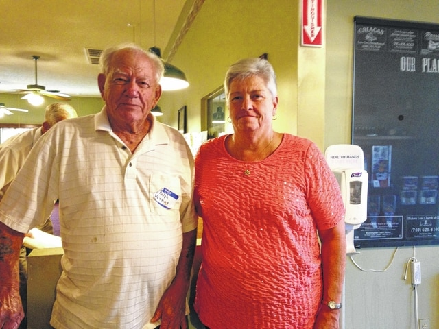 Ralph Warner, who worked at Pennington Bakery for 32 years, and Nancy Adams, whose husband Paul Adams worked in the bakery for 32 years.