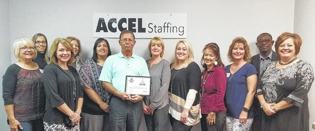 The Chamber recently honored Accel Temporary Services for being in business for 10 years.