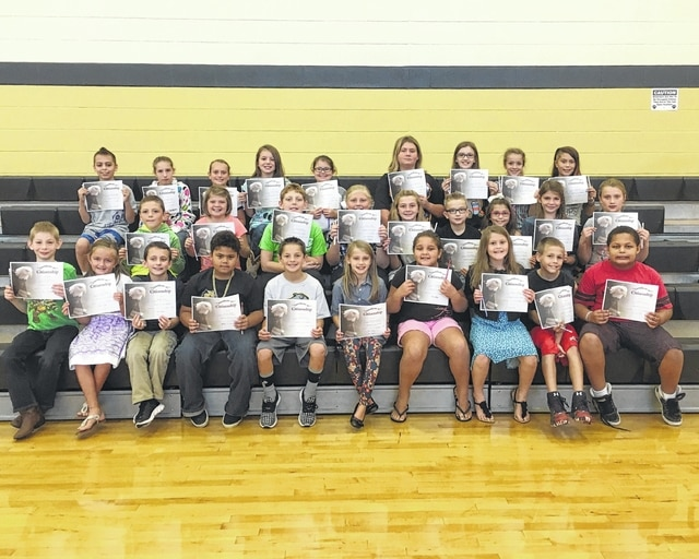 "The following students received recognition for being ""Students of the Month"" for the month of September at Miami Trace Elementary School. These students were chosen for giving great effort at school each and every day. Front Row: Sarah Whitney, Brooklin Hunter, Kaliana Willman, Carson Cooper, Gerriant Musser, Yaretzi Utrera Canseco, Zeller Kirkpatrick, Korbin Hixon, Mason Haslett and Gracelyn Lyons. Middle Row: Brilynne Ford, Xavier Harris, Keionnie Ackley, Layla Amnay, Jamison Black, Braiden Berry, Wylee Stuckey, Myah Dato, Austin Bradshaw, Delaney Farley and Korben Merritt. Back Row: Tieryn Ivey, Branten Griffin, Ava Clemens, Brody McBee, Jackson Black, Emma Bower, Paige Fitzgerald, Emma McCullah, Brenna Sword, Kelsy Douglas, Drake Capps, Garth Smith-Anderson."