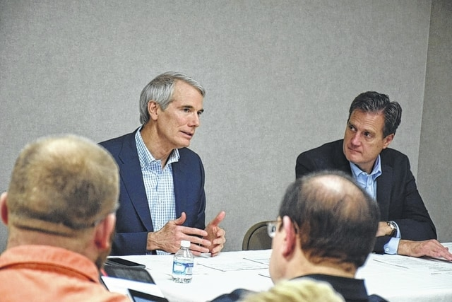 U.S. Sen. Rob Portman (R-OH) and Congressman Mike Turner (R-OH) during Friday's roundtable discussion on the heroin/opioid epidemic.