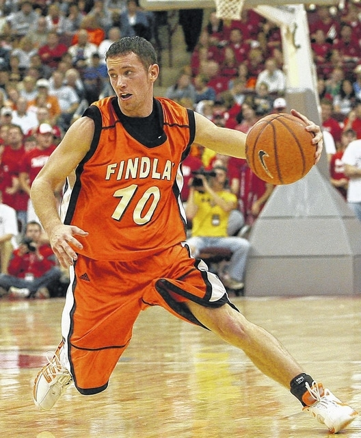 Dustin Pfeifer makes a move on the court for the Findlay Oilers. The Washington High School graduate will be enshrined in the University of Findlay Athletic Hall of Fame in February.