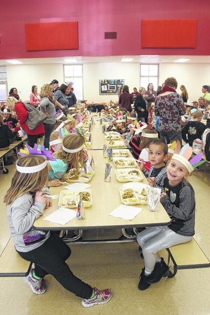 Miami Trace Elementary kindergarten students enjoyed a Thanksgiving dinner Tuesday afternoon. Parent volunteers, teachers and others served the meal, which consisted of turkey, mashed potatoes and other Thanksgiving staples.