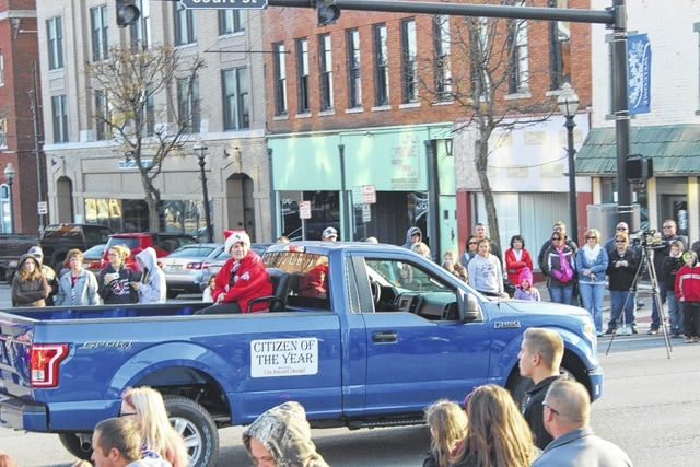 The Record-Herald Citizen of the Year, Debra Grover, was part of the 2016 Christmas Parade Sunday in Washington C.H. Grover, a core intervention teacher at Miami Trace Elementary School, was nominated by co-worker Amy Ford and the rest of the school's fifth grade team. Carroll Halliday Ford donated the truck and Carroll Halliday employee Daryl Saunders drove.