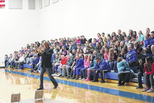 Smooth jazz musician and founder of the Chocolate Jazz Foundation 501C3, David Wells, visited Washington Middle School Tuesday afternoon as part of an his efforts to end the bullying epidemic across the country. He performed several pieces with his trumpets and spoke to the students about various findings and facts concerning bullying in the nation.