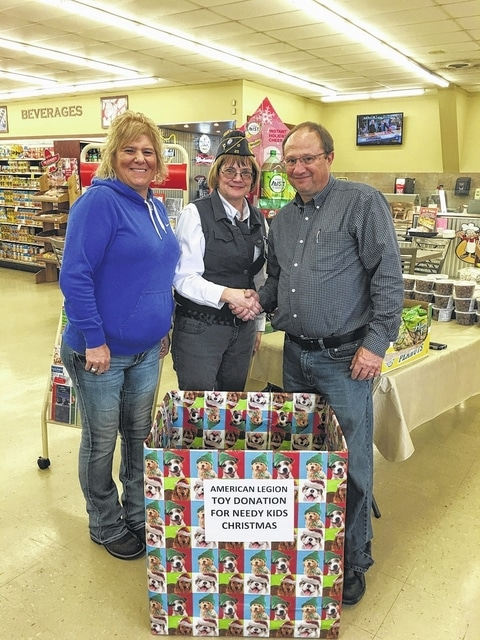 Members of the American Legion Post 25 were on hand recently to thank Detty's Market for donating to the American Legion Needy Kids Christmas Party and sponsoring a toy donation box at the market. Pictured (L to R): Jackie Penwell, American Legion Post 25 Past Ladies Auxiliary President; Elaine Stalsworth, chairperson of the needy kids Christmas party; and Jeff Detty, owner of Detty's Market.